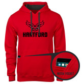 Contemporary Sofspun Red Hoodie-Hartford w/ Hawk Combination Mark