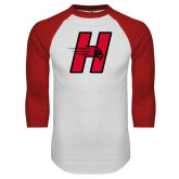 White/Red Raglan Baseball T-Shirt-Primary Logo Mark H