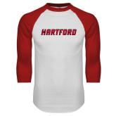 White/Red Raglan Baseball T-Shirt-Hartford Logotype