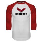 White/Red Raglan Baseball T-Shirt-Hartford w/ Hawk Combination Mark