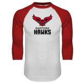 White/Red Raglan Baseball T-Shirt-Hartford Hawks w/ Hawk Stacked