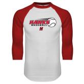 White/Red Raglan Baseball T-Shirt-Hawks Baseball w/ Flying Ball