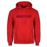 Red Fleece Hoodie-Hartford Logotype