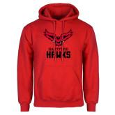 Red Fleece Hoodie-Hartford Hawks w/ Hawk Stacked