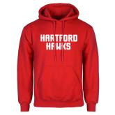 Red Fleece Hoodie-Hartford Hawks Stacked