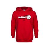 Youth Red Fleece Hoodie-Hawks Baseball w/ Flying Ball