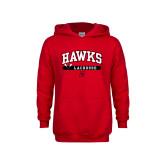Youth Red Fleece Hoodie-Hawks Lacrosse Arched