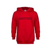 Youth Red Fleece Hoodie-Hartford Logotype