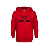 Youth Red Fleece Hoodie-Hartford w/ Hawk Combination Mark
