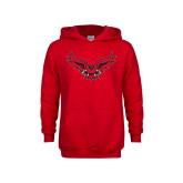 Youth Red Fleece Hoodie-Full Body Hawk
