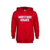 Youth Red Fleece Hoodie-Hartford Hawks Stacked