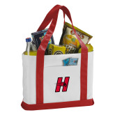Contender White/Red Canvas Tote-Primary Logo Mark H
