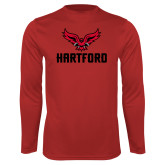 Performance Red Longsleeve Shirt-Hartford w/ Hawk Combination Mark