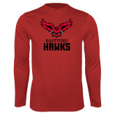 Performance Red Longsleeve Shirt-Hartford Hawks w/ Hawk Stacked