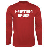 Performance Red Longsleeve Shirt-Hartford Hawks Stacked