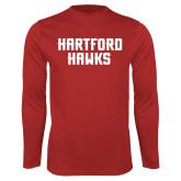 Syntrel Performance Red Longsleeve Shirt-Hartford Hawks Stacked