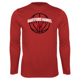 Performance Red Longsleeve Shirt-Hartford Hawks Basketball Arched w/ Ball