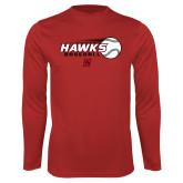 Performance Red Longsleeve Shirt-Hawks Baseball w/ Flying Ball