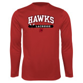 Performance Red Longsleeve Shirt-Hawks Lacrosse Arched