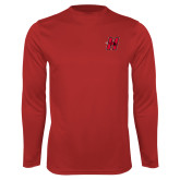 Performance Red Longsleeve Shirt-Primary Logo Mark H