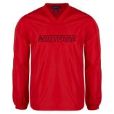 V Neck Red Raglan Windshirt-Hartford Logotype