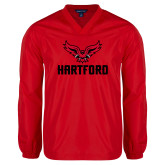 V Neck Red Raglan Windshirt-Hartford w/ Hawk Combination Mark