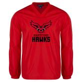 V Neck Red Raglan Windshirt-Hartford Hawks w/ Hawk Stacked