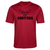 Performance Red Heather Contender Tee-Hartford w/ Hawk Combination Mark