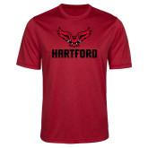 Performance Red Heather Contender Tee-Hartford w/ Hawk Combination Mark