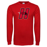 Red Long Sleeve T Shirt-Primary Logo Mark H