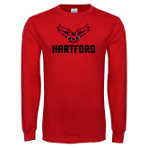 Red Long Sleeve T Shirt-Hartford w/ Hawk Combination Mark