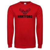 Red Long Sleeve T Shirt-Hartford w/ Hawk Combination Mark
