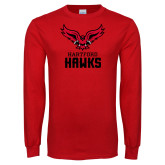 Red Long Sleeve T Shirt-Hartford Hawks w/ Hawk Stacked