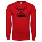 Red Long Sleeve T Shirt-Hartford Hawks w/ Hawk Stacked