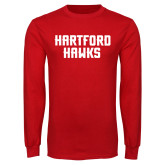 Red Long Sleeve T Shirt-Hartford Hawks Stacked