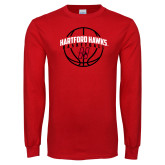 Red Long Sleeve T Shirt-Hartford Hawks Basketball Arched w/ Ball