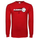 Red Long Sleeve T Shirt-Hawks Baseball w/ Flying Ball