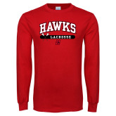 Red Long Sleeve T Shirt-Hawks Lacrosse Arched