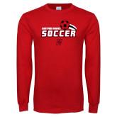 Red Long Sleeve T Shirt-Hartford Hawks Soccer Swoosh