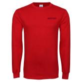 Red Long Sleeve T Shirt-Hartford Logotype