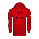 Under Armour Red Performance Sweats Team Hoodie-Hartford Hawks w/ Hawk Stacked