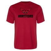 Performance Red Tee-Hartford w/ Hawk Combination Mark