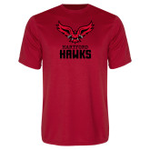 Performance Red Tee-Hartford Hawks w/ Hawk Stacked
