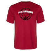 Performance Red Tee-Hartford Hawks Basketball Arched w/ Ball