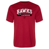 Performance Red Tee-Hawks Lacrosse Arched