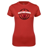 Ladies Syntrel Performance Red Tee-Hartford Hawks Basketball Arched w/ Ball