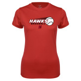 Ladies Syntrel Performance Red Tee-Hawks Baseball w/ Flying Ball