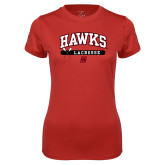 Ladies Syntrel Performance Red Tee-Hawks Lacrosse Arched