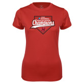 Ladies Syntrel Performance Red Tee-2018 Baseball Champions