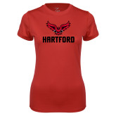 Ladies Syntrel Performance Red Tee-Hartford w/ Hawk Combination Mark